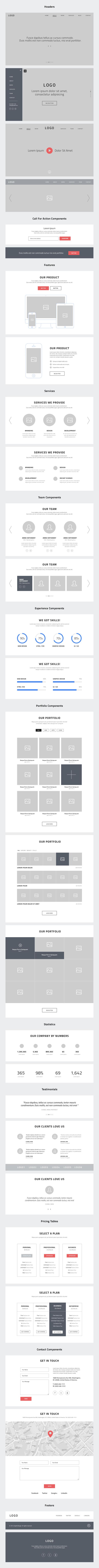Mockup schemat strony typu One Page