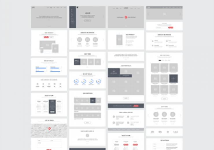Projektowanie stron internetowych - one page wireframes 300 740x520
