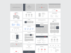 Makieta elementów serwisu typu One Page - one page wireframes 300