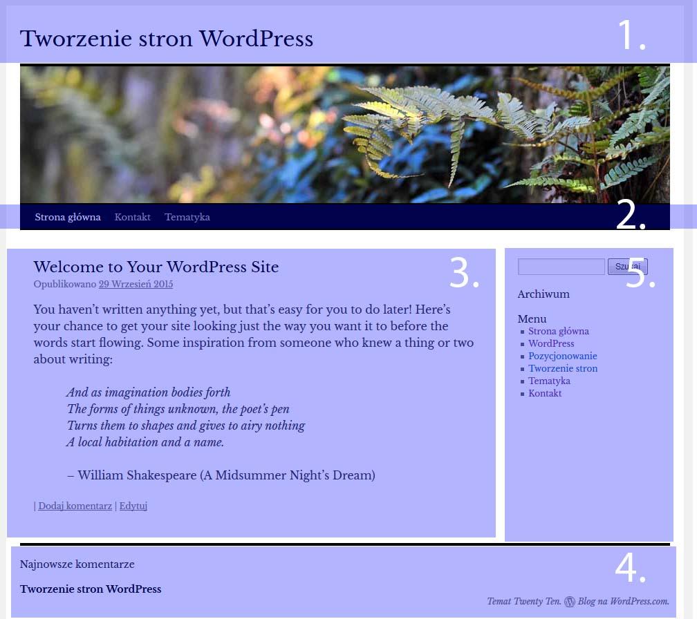 WordPress podział strony